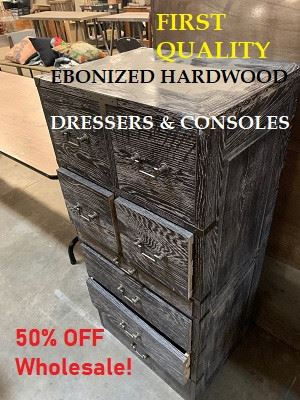 Ebonized hardwood Dressers and Console Tables, Limited Supply!