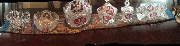 54 pieces of Hofbauer Red Birds 24 Lead Crystal