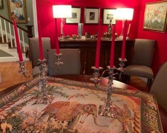 Silverplate Candelabra Pair & Elephant Tapestry