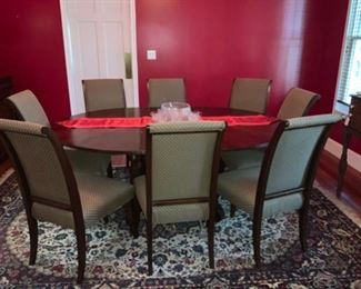 Picture Of Ethan Allen Dining Room Table With Leaf & Eight Chairs & Kandahar Collection Rug