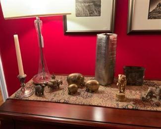 Brass Elephants, & Vintage Copper Clad Iron Circus Bank