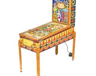 """Gottlieb's """"Dancing Dolls"""" pinball machine, 1960 model, colorful figural, wired American, with key, in working condition"""