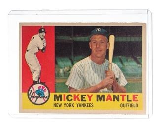 Mickey Mantle, 1960 Topps #350, vintage baseball card, ungraded, condition rate is good, in sleeve
