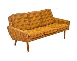 "Danish Mid-Century three seat sofa, striped tweed upholstery, rising on pin legs. 31""h x 68.5""w x 24.5""d"