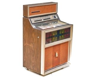 """Vintage Seeberg stereo phonograph, serial number 1259223, model SE100S, wood paneling, wired American, marked with City of San Antonio, TX license number 3345, dated 1975, turns on but will need repair to play music. 48""""h x 31""""w x 21""""d"""