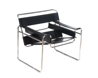"""Attributed to Marcel Breuer (1902-1981), Mid-Century """"Wassily"""" arm chair, chrome frame with black leather. 29.5""""h x 31.5""""w x 27""""d"""