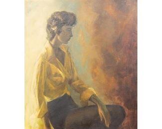 "Cecil Casebier (1922-1996), ""Dancer Resting (Portrait of June Ledlow His)"", dated 1963, oil on canvas, framed. sight: 48 x 39.5"", frame: 49 x 40.5"""