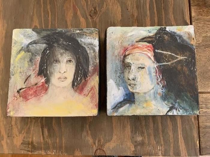 Debra Frittz (born 1953)  signed hanging plaques/tiles