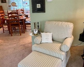 Striped upholstered club chair & ottoman.