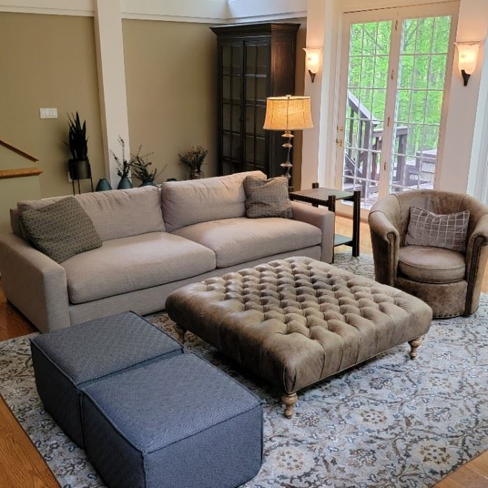 "sofa: 29 x 108 x 45, seat depth 28"", rug: 8'10"" x 12'1"", swivel leather chair: 34 x 38 x 35, ottoman: 19 x 48 x 48, lamp: 62""h, leather club swivel chair: 34 x 38 x 35, glass front bookcase: 7'6"" x 48"" x 18"""