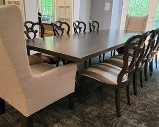 table: 30 x 118 x 44, 8 side chairs: 40 x 22 x 22, 2 wing chairs: 46 x 27 x 27, rug: 13' x 9'2""