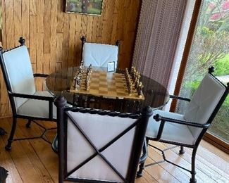 Round glass table with iron arm chairs Game Table