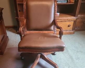 Hardwood and leather rolling desk chair 1/2