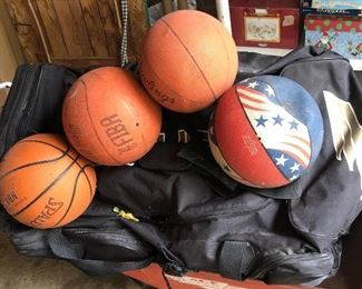 hockey equipment duffle bag full! & basketballs (now inflated)