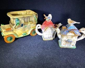 Adorable ceramic display tea pots and vintage car vase