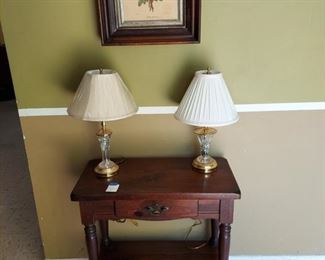Antique table, framed art, Waterford lamps