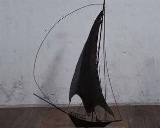 Midcentury Vintage Metal Sailboat Sculpture On Stone Base Decor