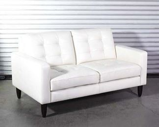 Sophisticated White Tufted Leatherette Loveseat Sofa