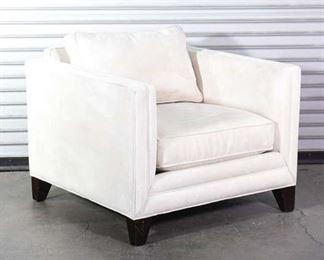 Elegan Cream Colored Squared Frame Armchair