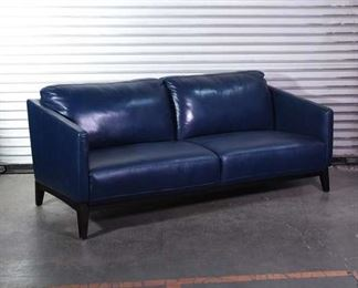 Eye-Catching Blue Leatherette 3-Seat Couch Statement Piece