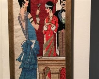Art deco style framed needlepoint