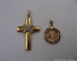 2 Yellow Gold Religious Pendants
