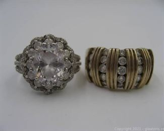 2 Sterling Silver CZ Rings
