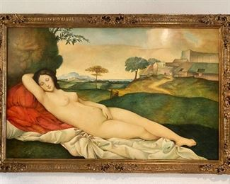 """Approximately 78"""" x 51"""" framed, Neoclassical motif painting on panel of reclining nude woman. Beautifully framed, Italian, comtemporary.   $2800.00  No calls/email only please."""