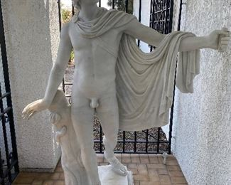 Gorgeous sculpted Carrara Marble statue of Apollo (torch missing.) Approx 6' tall 4' wide at base. Imported from Italy 40 years ago from the studio of Raffaello Romanelli in Florence. $5,800.00 (ordering today would take 8 mos to 1 yr and cost over 45,000 Euros!) No calls/email only please.