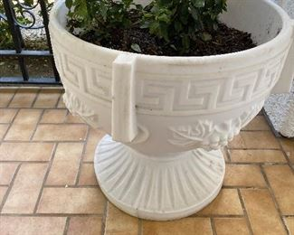 """Neoclassical greek key planters (marble look like) made of plastic...have a great look. $100.00 each. Two are available. Size approx 22"""" tall and 22"""" across. No calls/email only please."""