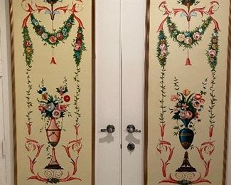 """Pair of painted panels on canvas. Floral bouquets and garland motifs. Approx 24"""" x 63"""". $595/pr No calls/email only please."""