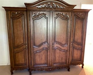 """Large French style armoire/entertainment center. Approx 90"""" tall and 101"""" across. $1,295 No calls/email only please."""
