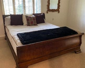 """Sleigh bed burl wood Approx 76 1/2 wide and 92 """" long $800  No calls/email only please."""