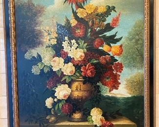 """Oil on canvas, reproduction of an 18th C painting. Still life with urn and flowers. Approx 32 1/2 """" x 43"""" Please email with questions. $495  No calls/email only please."""