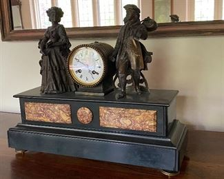ANTIQUE 19TH CENTURY FRENCH FIGURAL MARBLE MANTLE CLOCK