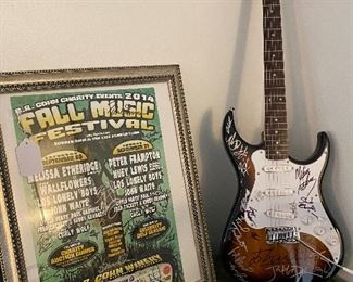 FALL MUSIC FESTIVAL WITH PETER FRAMPTON AND OTHER ARTISTS - ALL SIGNED THE POSTER AND THE GUITAR - TWO PIECE SET