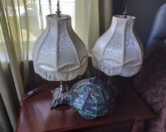 Antique Style Lamps with Shades and Tiffany Inspired Lamp