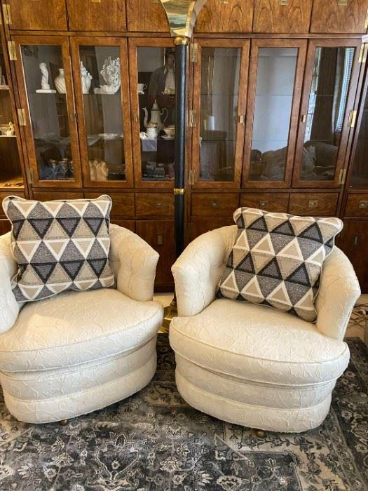 Barrel chairs and floor lamp