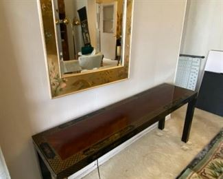 Beautiful black Lacquer Table and good mirror