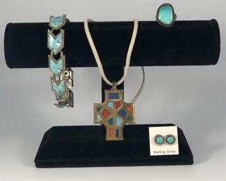 Southwestern Earrings, Bracelet, Necklace, Cross