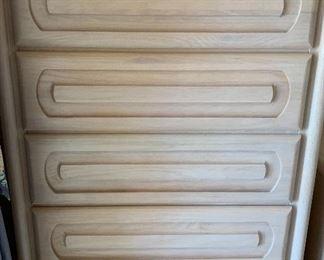 Oak White Wash Bedroom Suite: Dresser w 3-Way Mirror, Highboy, 2 Nightstands and Armoire