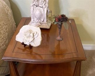 Wood Side Table and Decor