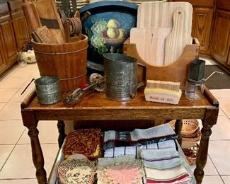 Kitchen Cart, Wood Kitchen Tools & Vintage Linens