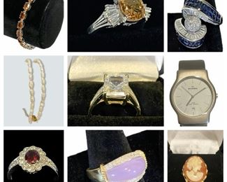 Documented Burmese Ruby & Diamond Ring, Sapphire, Emerald, Turquoise, Tanzanite, 10K - 22K Gold Jewelry, New Skaagen Watch, Jade and Amethyst Ring, Costume Jewelry, John Lennon Collection Watch,  & MORE!