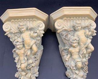 Angel Cherub Wall Sconce/Curtain Rod Holder