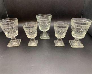 "Vintage ""Park Lane"" Thumbprint Glass Goblets"