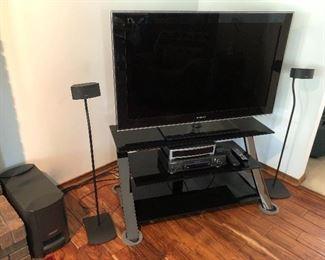 "Samsung 46"" LCD TV, model ln46b640r3f; Bose speaker system."