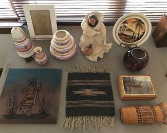 Native American pottery and crafts.