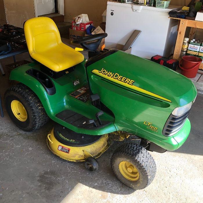 John Deere LT 160 Automatic riding lawnmower.