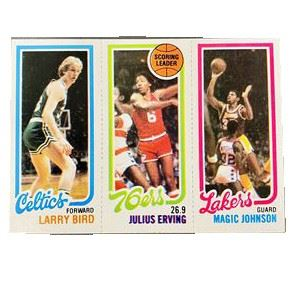 Lot 001 Amazing 1980-81 Topps Larry Bird Magic Johnson Dr J Card. https://www.bidrustbelt.com/Event/LotDetails/118855701/Amazing-198081-Topps-Larry-Bird-Magic-Johnson-Dr-J-Card